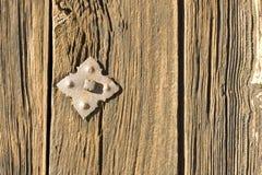 Rostiges Niet in der Holztür Lizenzfreie Stockfotografie