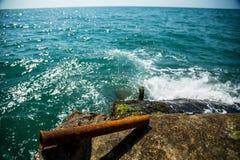 Rostiges Rohr auf dem Hintergrund des Mooses und des Meeres stockbild