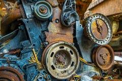 Rostiges und gebranntes Autowrack Stockfoto