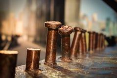 Rostigt brunt böjt järn för metallskruvar Royaltyfria Foton