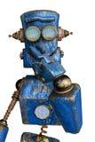 Rostigt den blåa roboten i en vit bakgrund vektor illustrationer