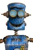 Rostigt den blåa roboten i en vit bakgrund royaltyfri illustrationer