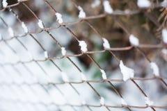 Rostigt järnstaket för chain sammanlänkning i vinter Arkivbild