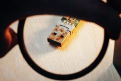 Rostigt kontaktdon för USB exponeringsdrev Royaltyfria Bilder