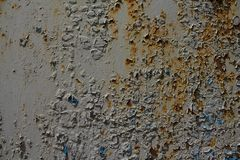 Rostigt metallark med skalningsmålarfärg arkivbilder