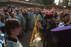 Rostislav commits the ceremony. Russia. Tomsk. Rostislav - Archbishop of Tomsk and Asino, commits the ceremony ritual near the orthodox church Royalty Free Stock Images