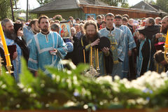 Rostislav commits the ceremony. Russia. Tomsk. Rostislav - Archbishop of Tomsk and Asino, commits the ceremony ritual near the orthodox church. On August, 9th Stock Photo