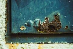 Rostkorrosion på väggen Royaltyfri Fotografi
