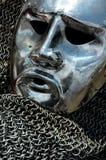 Rosto humano antigo do metal da armadura foto de stock royalty free