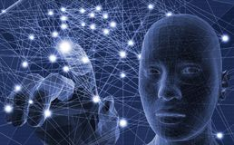 Rosto humano com linhas e luz abstratas da rede Imagens de Stock Royalty Free