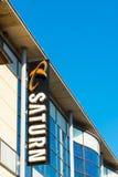 ROSTOCK, ALEMANHA - 12 de maio de 2016: Loja de Saturn Saturn é uma corrente alemão de lojas da eletrônica Fotos de Stock Royalty Free
