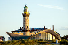 Rostock, Allemagne - 22 août 2016 : Phare de Warnemuende Photographie stock libre de droits