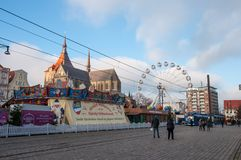 Rostock Christmas Market at Neuer Markt square on a sunny day. Rostock Germany - December 2. 2017: Rostock Christmas Market at Neuer Markt square on a sunny day Stock Photos