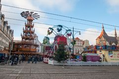 Rostock Christmas Market at Neuer Markt square on a sunny day. Rostock Germany - December 2. 2017: Rostock Christmas Market at Neuer Markt square on a sunny day Stock Image