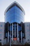 Rostock, Deutschland, am 27. Januar 2017: modernes Gebäude in See Lizenzfreies Stockbild
