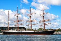 Rostock, Germania - 22 agosto 2016: Quattro-Master sailingship Sedov Fotografia Stock Libera da Diritti