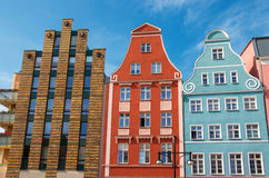Rostock, Germany. Row of houses in the Kroepeliner street. Rostock. Germany Royalty Free Stock Images