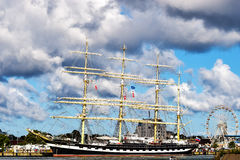 Rostock, Germany - August 22, 2016: Four-masted barque Kruzenshtern. Stock Images