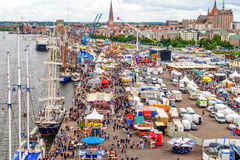 Rostock, Germany - August 2016: Hanse Sail markt. Rostock, Germany - August 2016: lots of sailing ship on Hanse Sail and Hanse Sail markt. Aerial photography Royalty Free Stock Photos