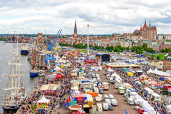 Rostock, Germany - August 2016: Hanse Sail markt. Rostock, Germany - August 2016: lots of sailing ship on Hanse Sail and Hanse Sail markt. Aerial photography Stock Photography