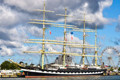 ROSTOCK, GERMANY - AUGUST 2016: Krusenstern. Four-masted barque Kruzenshtern. Stock Image