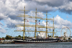 Rostock, Germany - August 2016: Krusenstern. Four-masted barque Kruzenshtern. Royalty Free Stock Photo