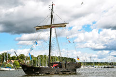 ROSTOCK, GERMANY - AUGUST 2016: Medieval vessel Wissemara Hanse-Sail. ROSTOCK, GERMANY - 12 AUGUST 2016: Medieval vessel Wissemara is sailing in Hanse-Sail Stock Photo