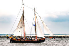 Rostock, Germany - August 2016: Sailing ship on the baltic sea. Hanse-Sail Warnemuende at port Rostock, Mecklenburg-Vorpommern, Germany. Tall Ship.Yachting and Stock Photos
