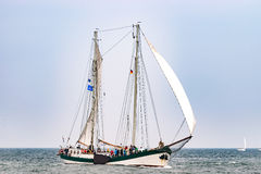 Rostock, Germany - August 2016: Sailing ship on the baltic sea. Hanse-Sail Warnemuende at port Rostock, Mecklenburg-Vorpommern, Germany. Tall Ship.Yachting and Royalty Free Stock Images