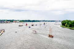 Rostock, Germany - August 2016: sailing ship on Hanse Sail. Rostock, Germany - August 2016: lots of sailing ship on Hanse Sail. Aerial photography Stock Images