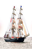 Rostock, Germany - August 2016: Sailing ship Mercedes on the sea. Royalty Free Stock Image