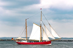 Rostock, Germany - August 2016: Sailing ship Ryvar on the baltic sea. Stock Photo