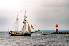 Rostock, Germany - August 2016: Sailing ship Zuiderzee on the sea. Stock Photography
