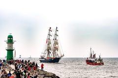 Rostock, Germany - August 2016: Sailing ships on Hanse-Sail Warnemuende. Royalty Free Stock Photo