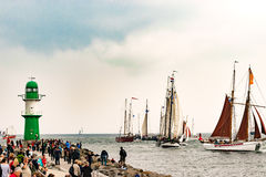 Rostock, Germany - August 2016: Sailing ships on Hanse-Sail Warnemuende. Stock Photo
