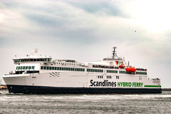 Rostock, Germany - August 2016: Scandlines hybrid ferry in the harbour of Warnemuende Stock Photography