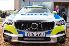 Swedish police car from volvo. ROSTOCK  / GERMANY - AUGUST 12, 2017: swedish police car from volvo stands on a public event, hanse sail in rostock Royalty Free Stock Photo