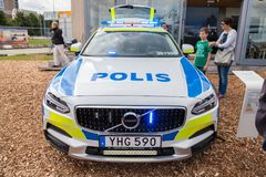 Swedish police car from volvo. ROSTOCK  / GERMANY - AUGUST 12, 2017: swedish police car from volvo stands on a public event, hanse sail in rostock Stock Photos