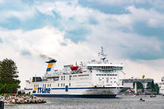 Rostock, Germany - August 2016: tt-line ferry in the harbour of Warnemuende stock photos