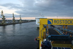 Rostock, Germany: feb 1. 2017 - Ferryboat sail across bay between Germany and Danmark. Stock Photography