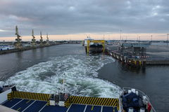 Rostock, Germany: feb 1. 2017 - Ferryboat sail across bay between Germany and Danmark. Royalty Free Stock Images