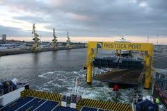 Rostock, Germany: feb 1. 2017 - Ferryboat sail across bay between Germany and Danmark. Stock Photos