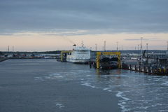 Rostock, Germany: feb 1. 2017 - Ferryboat sail across bay between Germany and Danmark. Stock Images