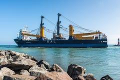 Heavy Lift Carrier Vessel Calypso. Rostock, Germany - May 26, 2017: Heavy Lift Carrier Vessel Calypso leaves the port of Warnemunde, Hanseatic City Rostock stock photography