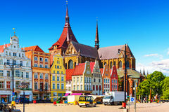Rostock, Germany. Scenic summer view of the Markplatz Old Town Market Square architecture in Rostock, Mecklenburg region, Germany stock photos