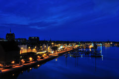 Rostock harbor at night. Picture overlloking the city harbor of Rostock near the Baltic Sea Stock Image
