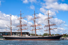 ROSTOCK NIEMCY, SIERPIEŃ, - 2016: Czteromasztowa żeglowania statek Sedov Obraz Stock
