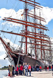 ROSTOCK NIEMCY, SIERPIEŃ, - 2016: Czteromasztowa żeglowania statek Sedov Fotografia Royalty Free