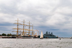 Rostock Niemcy, Sierpień, - 2016: Żeglowanie statek Krusenstern na morzu bałtyckim Fotografia Stock