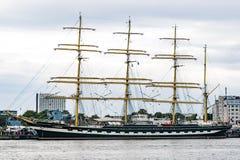 Rostock Niemcy, Sierpień, - 2016: Żeglowanie statek Krusenstern na morzu bałtyckim Zdjęcie Royalty Free
